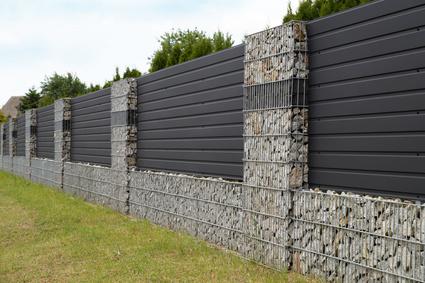 Modern gabion wall.
